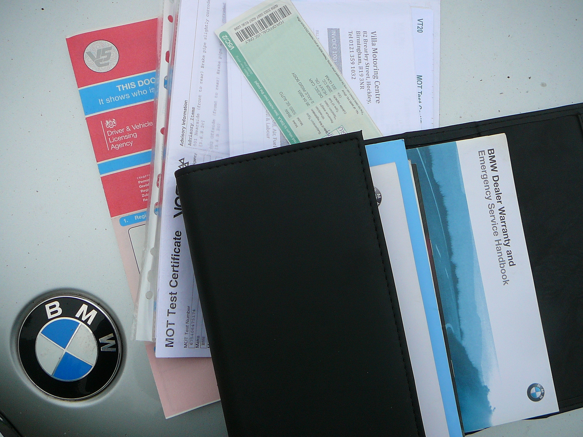 Used car sale arranging paperwork