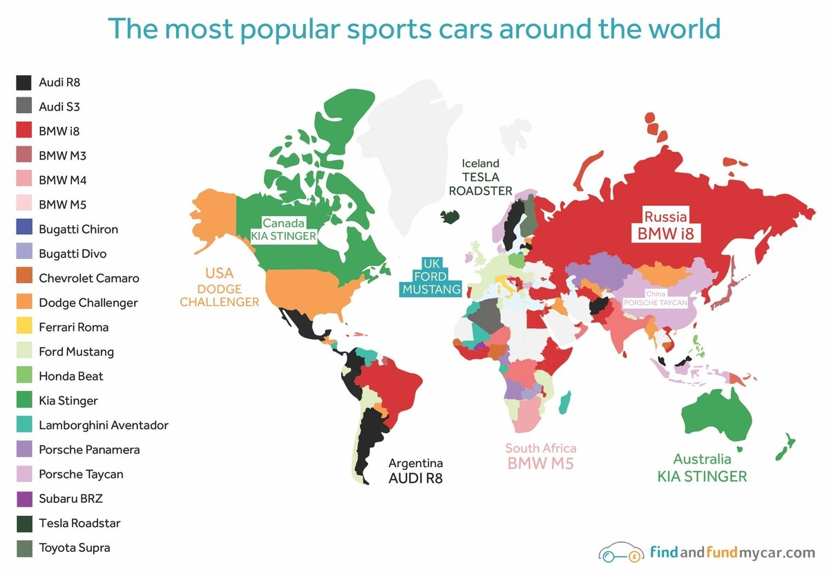 The most popular cars around the world map