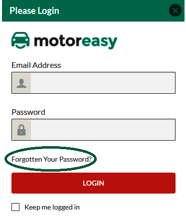 MotorEasy password login reset