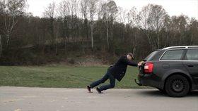 Man pushing car untaxed
