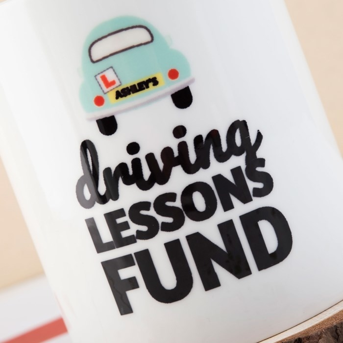 personalised money box driving test license